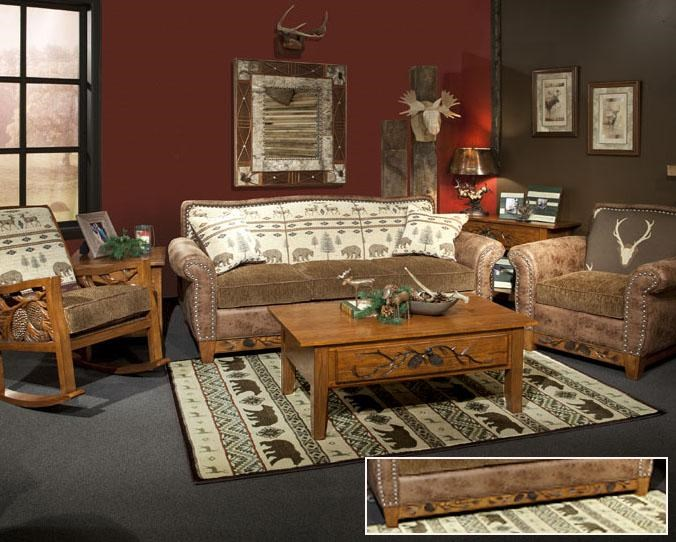 Marshfield Woodland Rustic Sofa With Nail Head Trim