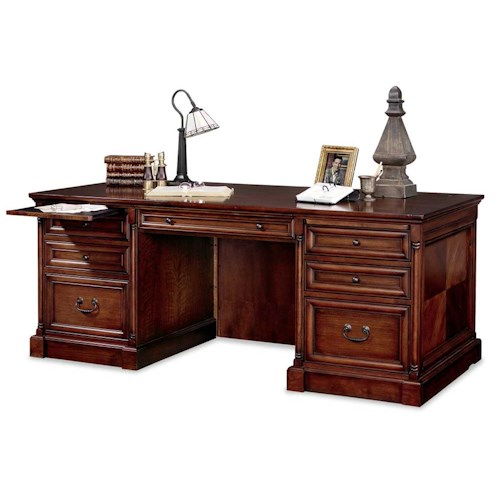 kathy ireland Home by Martin Mount View Double Pedestal Executive Desk with Two Dictation Trays