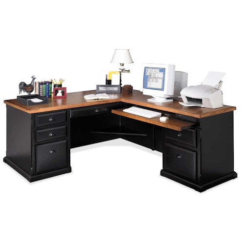 kathy ireland Home by Martin Southampton L-Shaped Executive Desk with Right Facing Keyboard Return