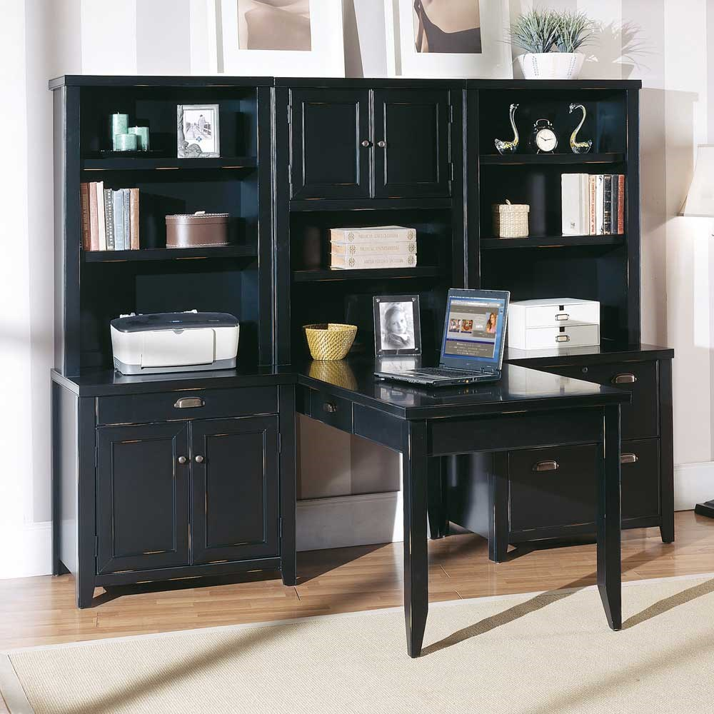 Kathy Ireland Home By Martin Tribeca Loft L Shaped Office Wall Unit With  Writing Table