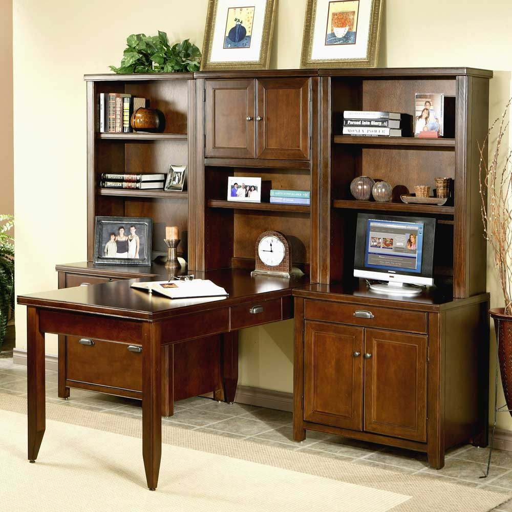 Attrayant Kathy Ireland Home By Martin Tribeca Loft L Shaped Office Wall Unit With  Writing Table