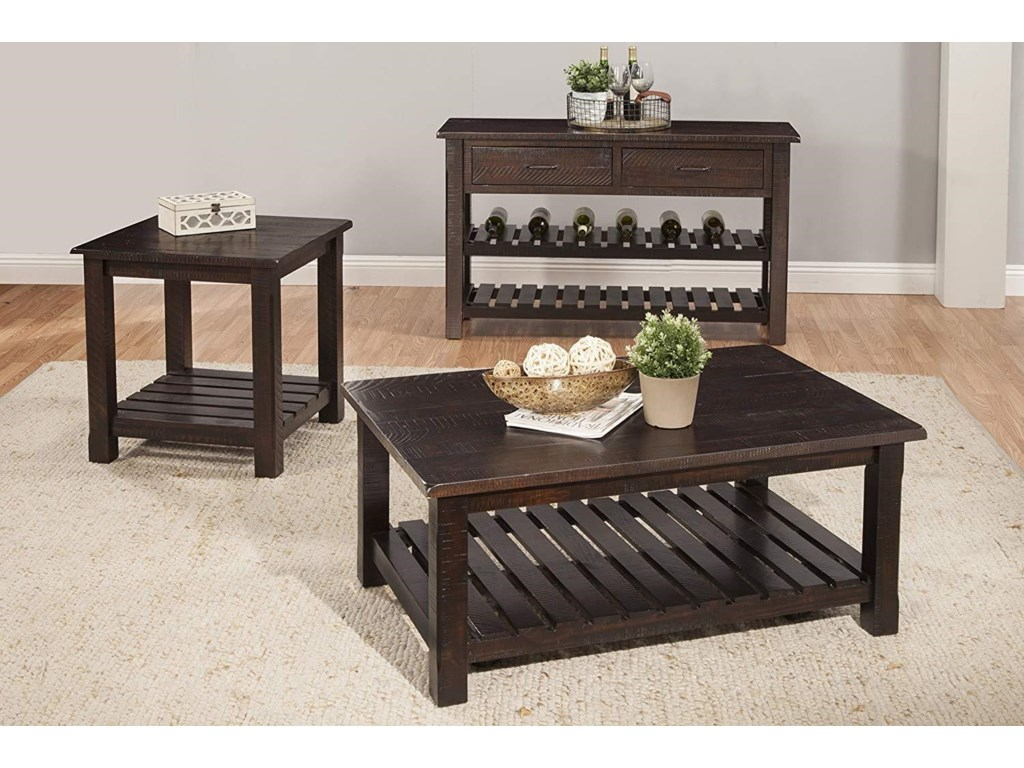 Martin Svensson Home Hillsboro Occasional TablesRustic Espresso Coffee Table and 2 End Table