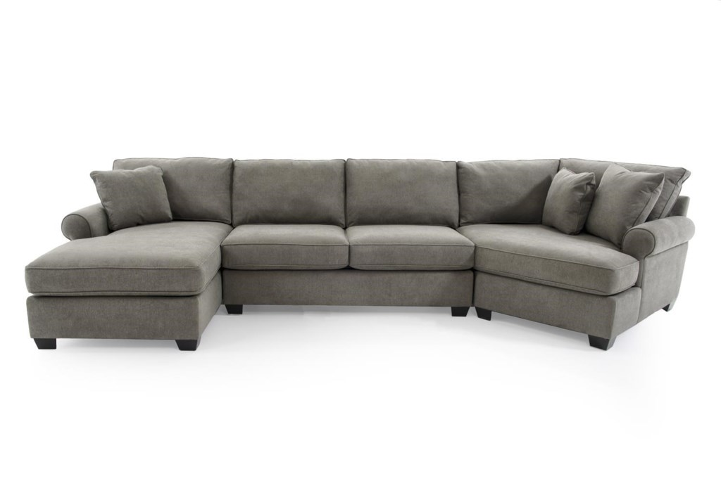 Max Home Jessica 9ba5 A Chl Saa Ccr Gray Casual Three Piece  ~ Sectional Sofa With Cuddler