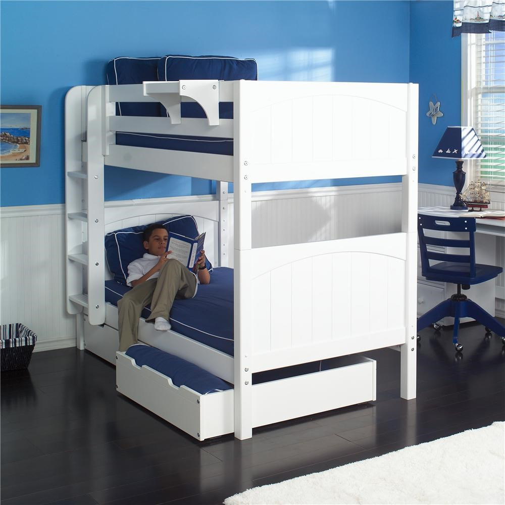 Picture of: Maxtrix Hot Shot 1 White Bunk Bed With Under Bed Storage Unit Wayside Furniture Bunk Bed