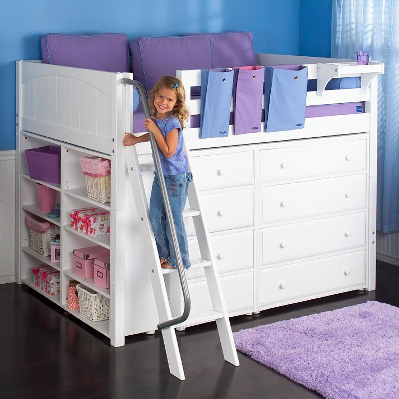 maxtrix kong full size loft bed with builtin dressers and shelves
