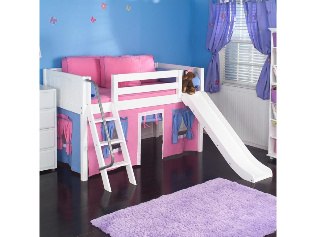 Maxtrix WowLoft Bed w/ Angle Ladder, Slide, & Fabrics