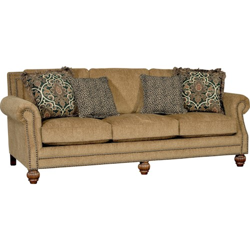 Mayo 4300 Mayo Traditional Sofa with Rolled Arms and Carved Wood Feet