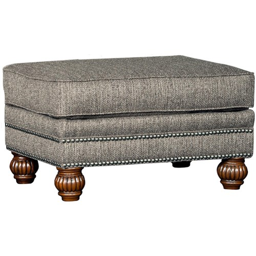Mayo 4300 Mayo Traditional Ottoman with Carved Wood Feet