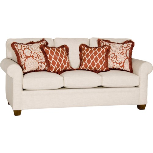 Mayo 5640 Transitional Sofa with Rolled Arms and Tapered Wood Feet
