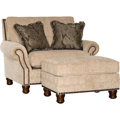 Mayo 5790 Traditional Chair with Nailhead Trim and Exposed Wood Feet