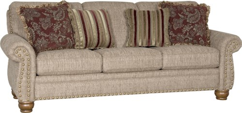 Mayo 9780 Traditional Stationary Sofa with Exposed Wood Spool Legs