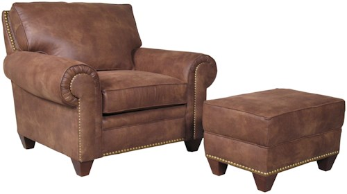 Mayo 2840 Traditional Upholstered Chair and Ottoman with Tapered Legs
