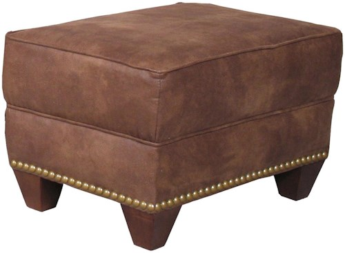 Mayo 2840 Traditional Upholstered Ottoman with Tapered Legs
