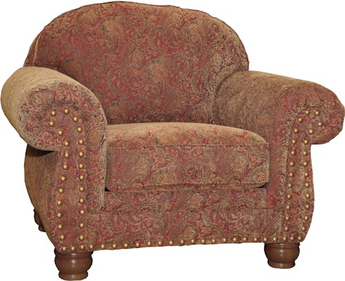 Mayo 3180 Traditional Upholstered Chair with Spool Legs