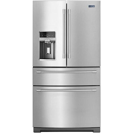 """36"""" 26 Cu Ft 4-Door French Door Refrigerator"""