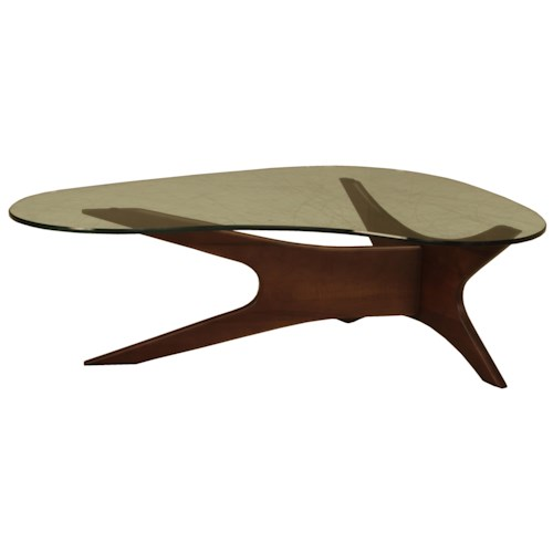 BeModern Occasional Tables Boomerang Cocktail Table with Glass Top