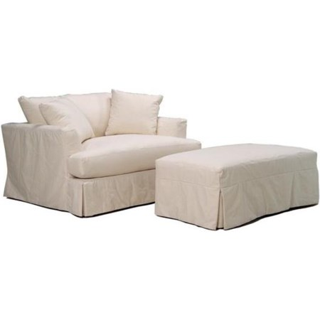 Slipcover Chair and a Half and Ottoman Set
