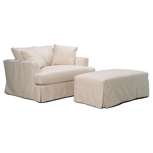 BeModern Cloud Slipcover Chair and a Half and Ottoman Set with Casual Pleated Skirt