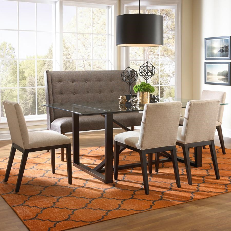 BeModern Dining Items Upholstered Dining Settee With Tufted Wing