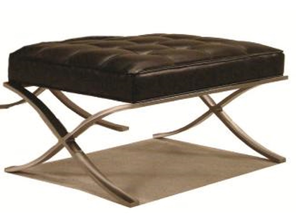 McCreary Modern 810 Tufted Leather Ottoman with Metal Base