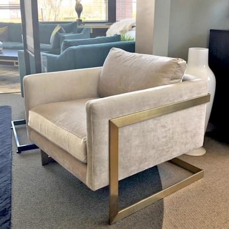 Upholstered Chair with Brushed Brass