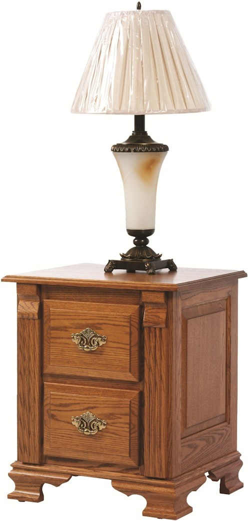 Rotmans Amish Journeys End 2 Drawer Nightstand with Fluted Columns and Bracket Feet