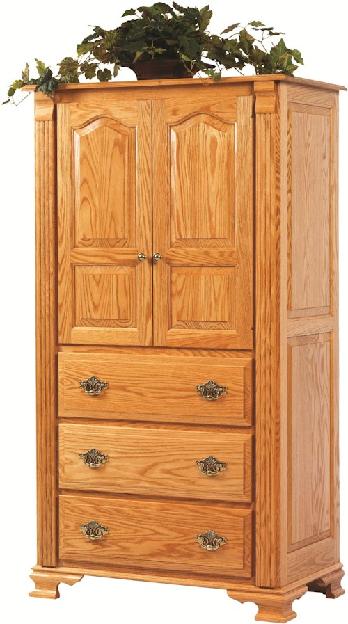 Rotmans Amish Journeys End Armoire with 3 Drawers, 2 Doors and 2 Adjustable Shelves
