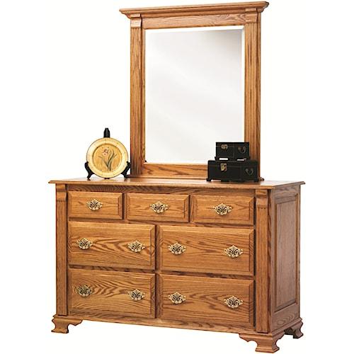 Rotmans Amish Journeys End 7 Drawer Dresser with Beveled Edge Mirror