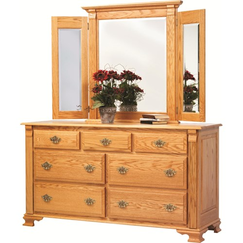 Rotmans Amish Journeys End 7 Drawer Dresser with Tri-View Beveled Edge Mirror