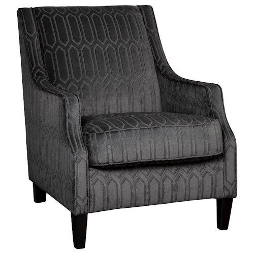 Millennium Entwine Dark Gray Velvet Accent Chair with Geometric Pattern
