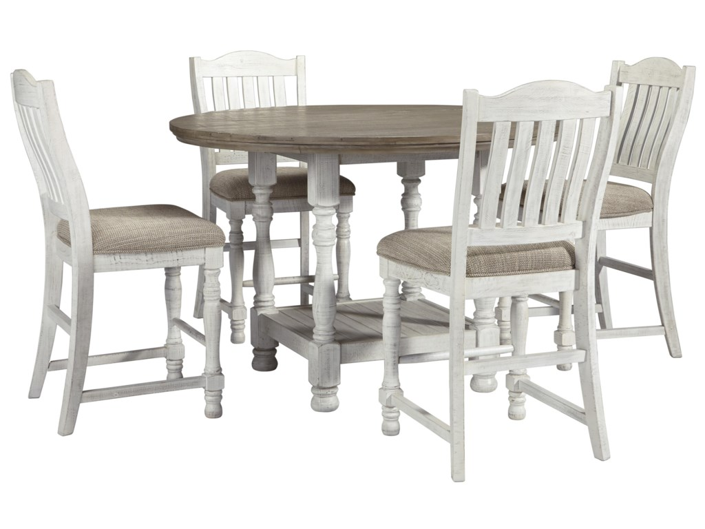 Millennium Havalance D814 13 4x124 Round Dining Room Counter Height Table And 4 Upholstered Barstools Set Sam Levitz Outlet Dining 5 Piece Sets
