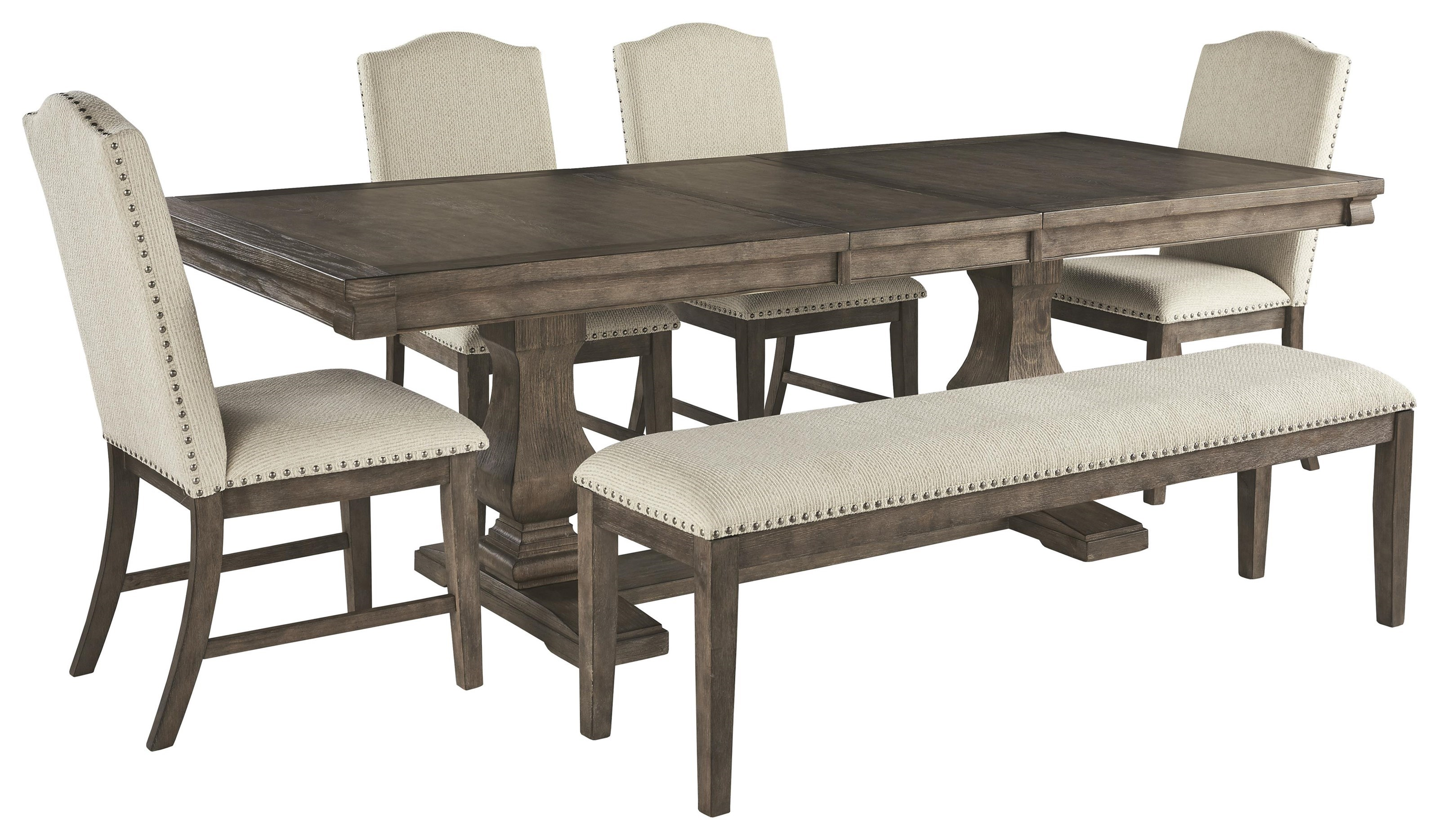 Picture of: Millennium Johnelle D776 55t 55b 4×01 00 6 Piece Rectangular Dining Room Extension Table 4 Upholstered Side Chairs And Upholstered Bench Set Sam Levitz Furniture Table Chair Set With Bench
