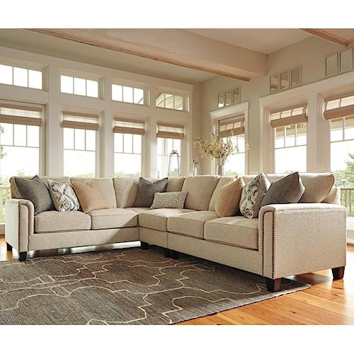 Millennium Kieman Transitional 3 Piece L-Shaped Sectional with 8 Decorative Pillows