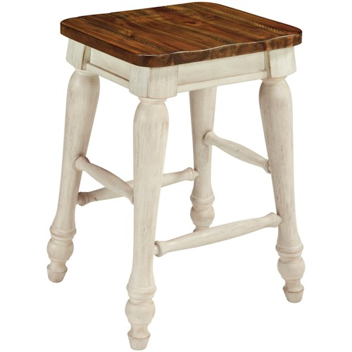 Millennium Marsilona Two-Tone Backless Counter Height Stool with Turned Legs