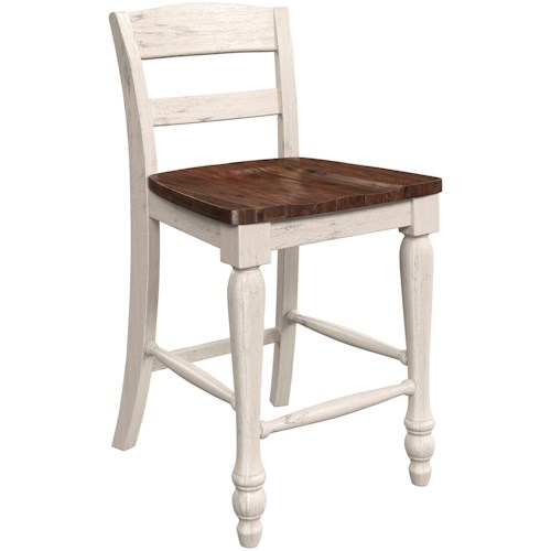 Millennium Marsilona Two Tone Low Back Counter Height Barstool With Turned Legs