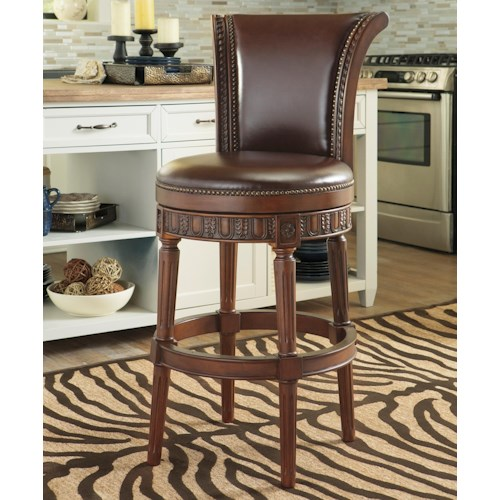 Millennium North Shore Faux Leather Tall Upholstered Swivel Barstool with Sleigh Back