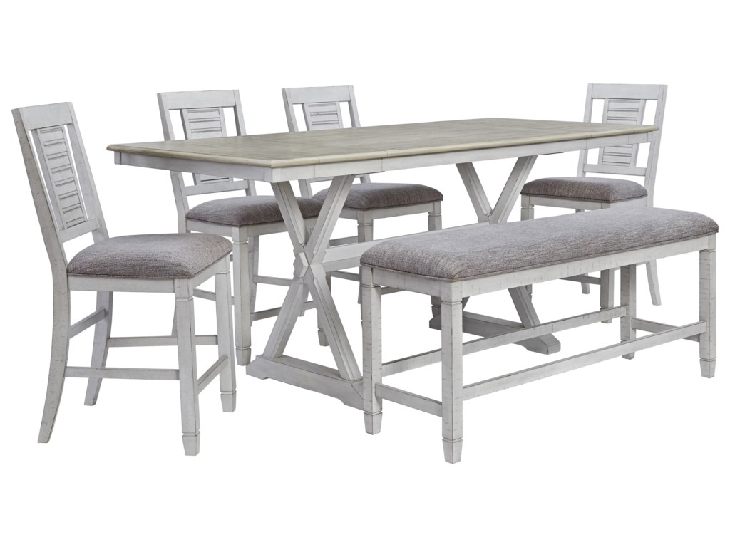 Millennium Teganville D755 32 4x124 09 6 Piece Rectangular Counter Height Extension Table 4 Upholstered Barstools And Upholstered Bench Set Sam Levitz Furniture Table Chair Set With Bench