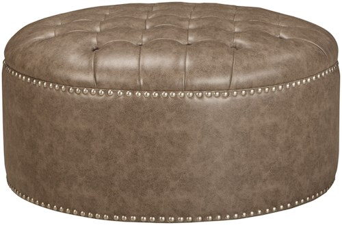 Millennium Wilcot Contemporary Oversized Accent Ottoman with Button Tufting and Nailhead Trim