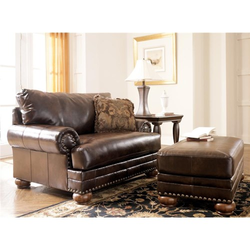 Signature Design by Ashley Furniture Chaling DuraBlend® - Antique Traditional Chair & 1/2 and Ottoman with Nailhead Trim