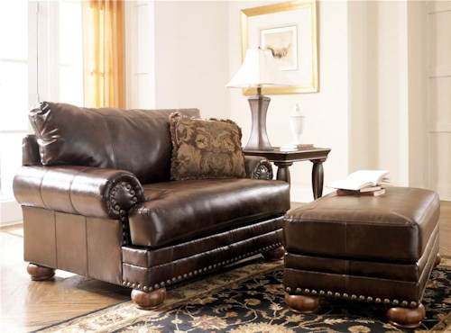 Signature Design by Ashley Chaling DuraBlend® - Antique Traditional Chair & 1/2 and Ottoman with Nailhead Trim