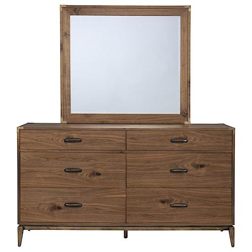 Modus International Adler Six Drawer Mid-Century Modern Dresser and Mirror