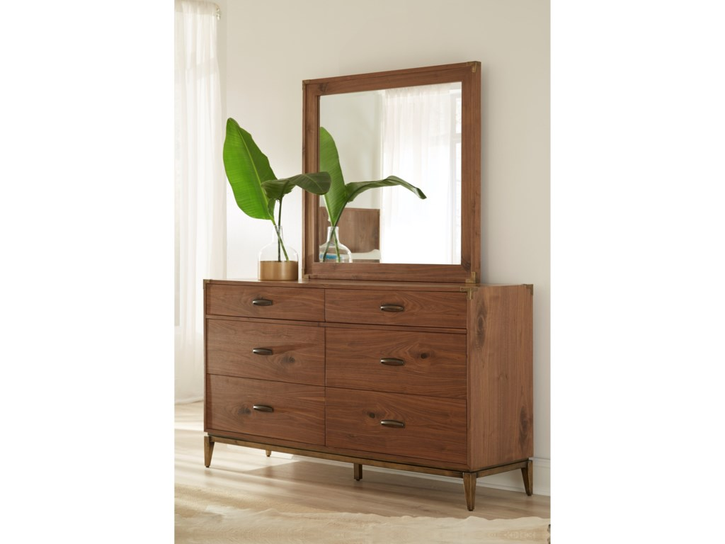 Modus International AdlerSix Drawer Dresser and Mirror