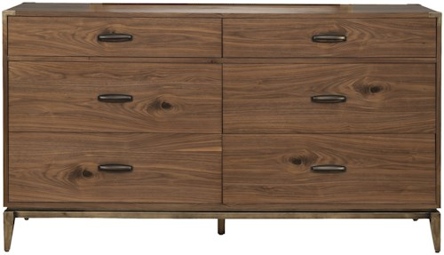 Modus International Adler Mid-Century Modern Six Drawer Dresser with Removable Felt Lining in Top Drawers