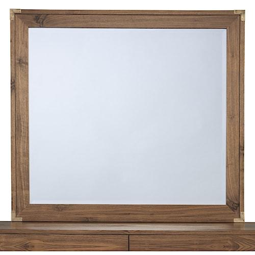 Modus International Adler Mirror with Wooden Frame and Bronze Brass Corner Brackets