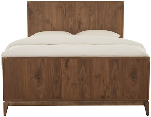 Modus International Adler Queen Mid-Century Modern Panel Bed with Bronze Accents