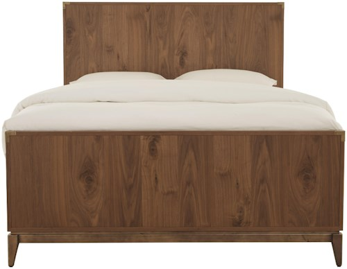 Modus International Adler California King Mid-Century Modern Panel Bed with Bronze Accents