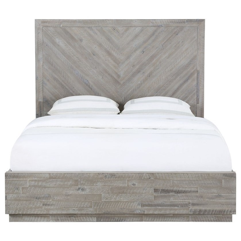 Modus International Alexandra Rustic California King Platform Bed With Herringbone Pattern Headboard Reeds Furniture Platform Beds Low Profile Beds