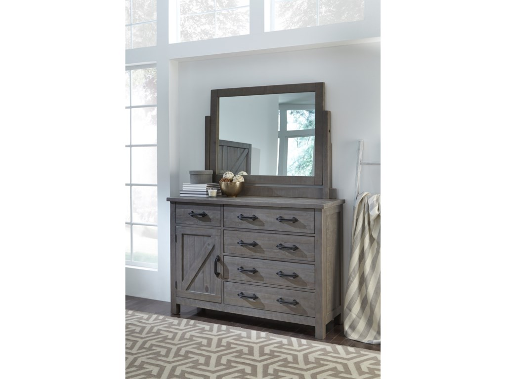 Modus International Austin5 Drawer Dresser and Mirror