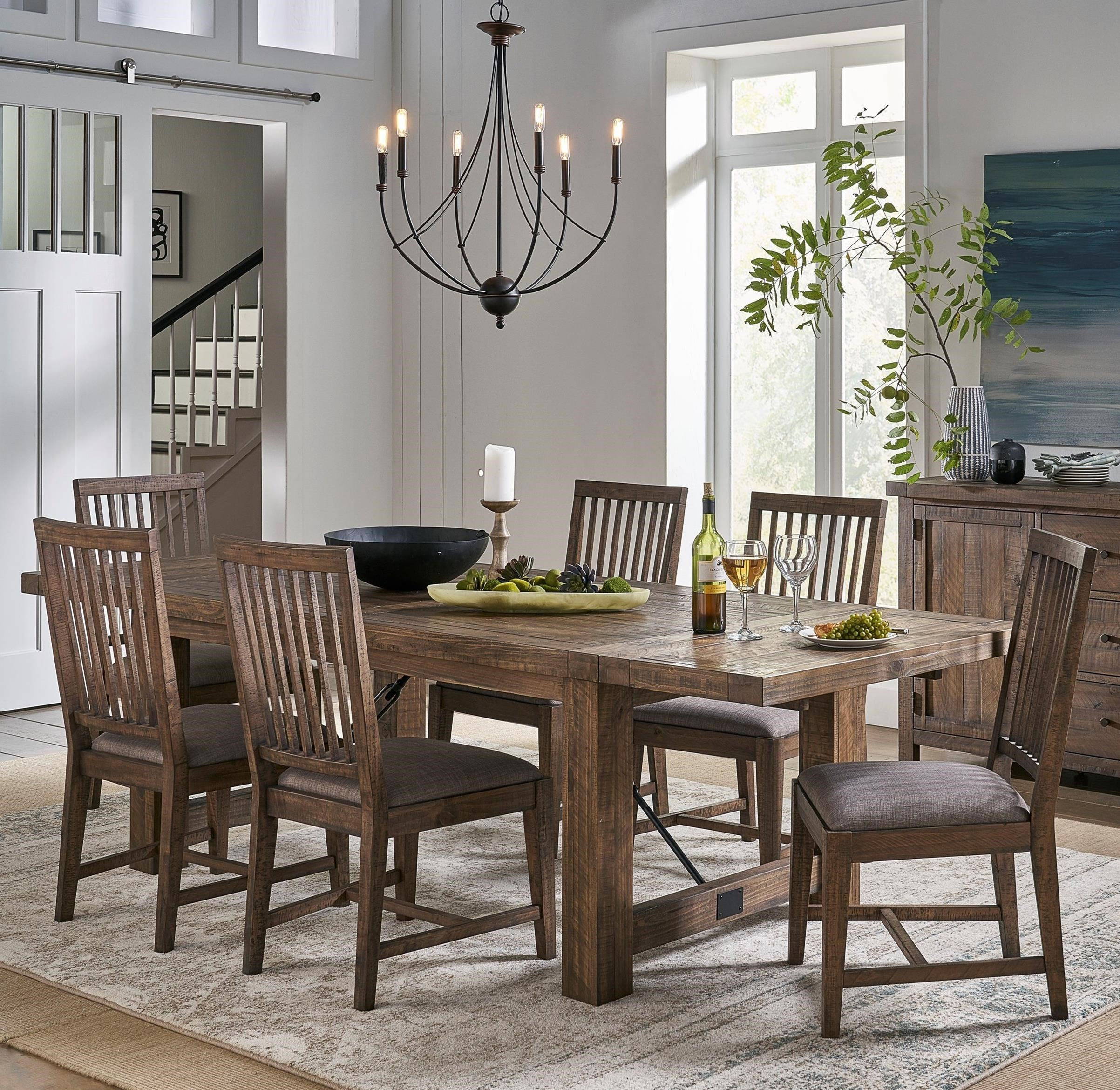 Modus International Autumn Rustic Solid Wood 7 Piece Dining Table Set Reeds Furniture Dining 7 Or More Piece Sets