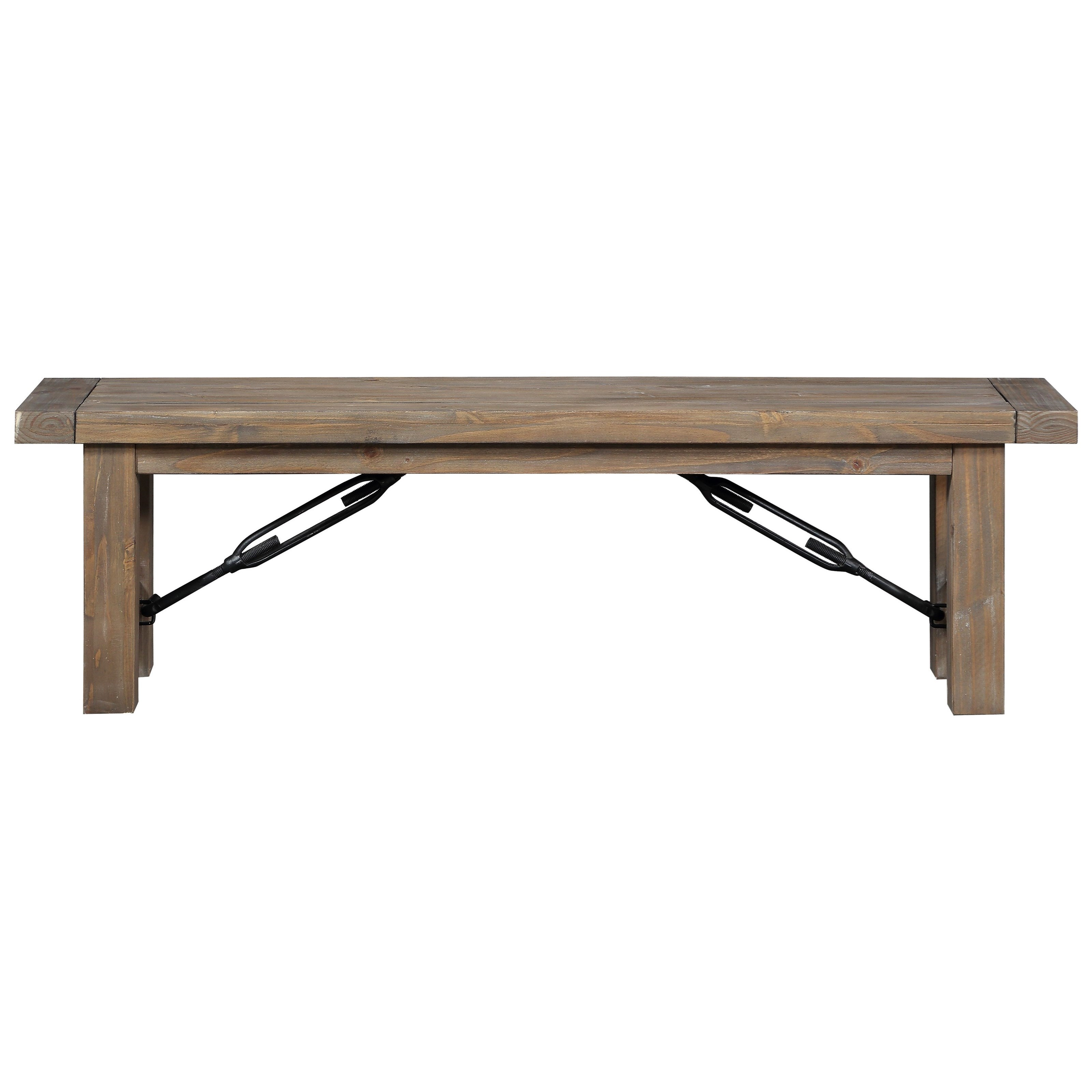 Rustic Solid Wood Bench with Industrial Braces